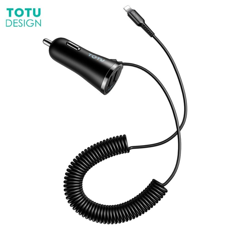 TOTU Car Charger Spring Cable 3.4A Fast Charging For iPhone X 8 plus Car Charge For Samsun
