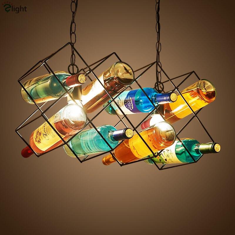 American Industrial Vintage Colorful Wine Bottles Led Chain Pendant Light Paint Wine Shelf Led E27 Pendant Light american industrial vintage pendant