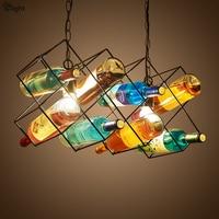 American Industrial Vintage Colorful Wine Bottles Led Chain Pendant Light Paint Wine Shelf Led E27 Pendant Light