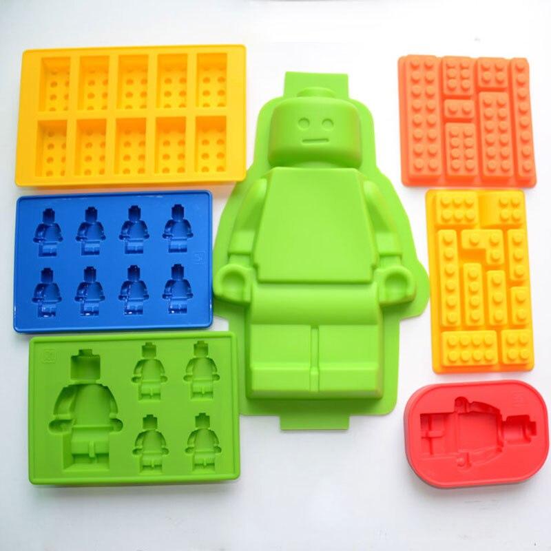 7pcs/lot Lego Bricks Ice Cube Silicone Mold Ice Tray Ice Cream Makers Chocolate Fondant Bakeware M3014