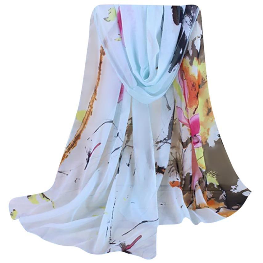 Fashion Lady Floral Print Scarves Women Chiffon Scarf Femininas Elegant Shawls And Wraps Bufandas Mujer #EP