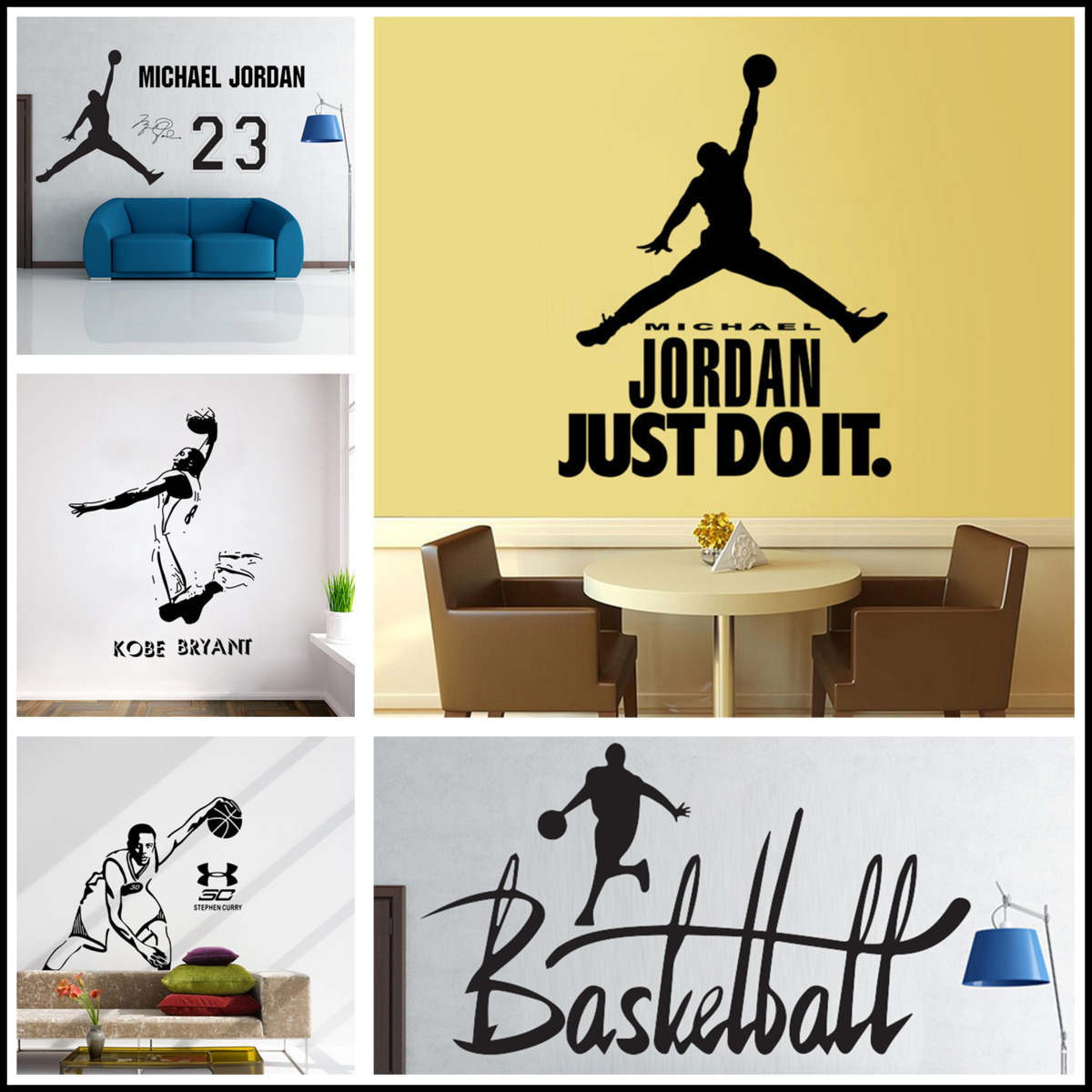 New Art Design Jordan Home Decoration Vinyl Basketball Player ...