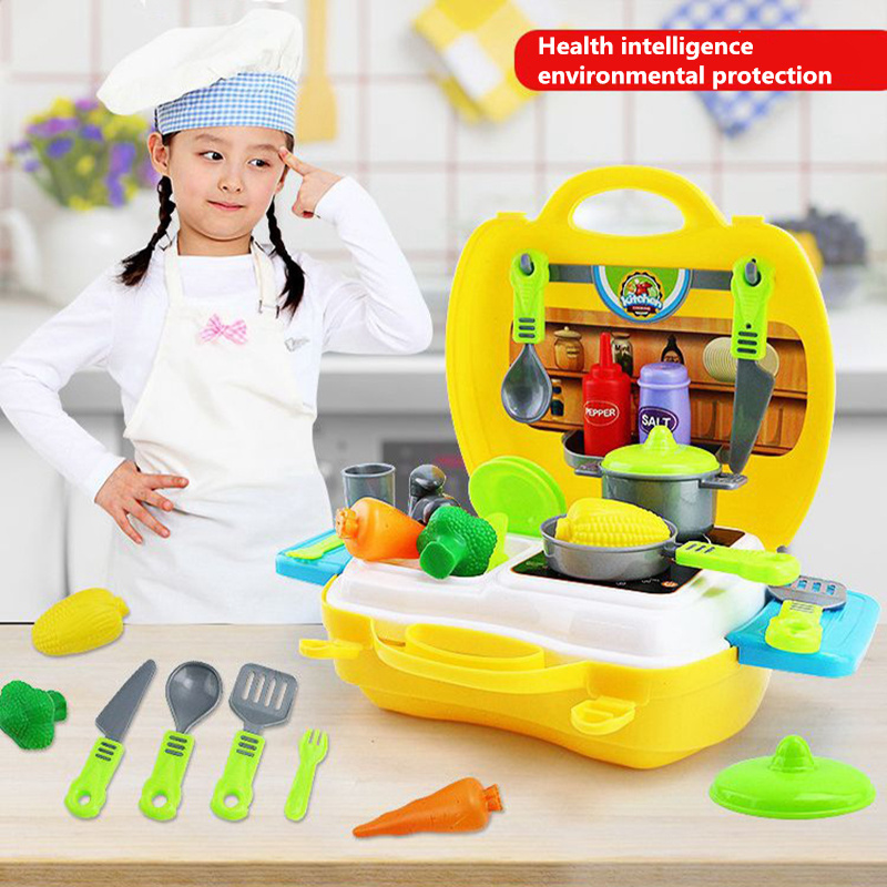 26pcs/Set Kitchen tools toys DIY Cooking Food Cookware Role Play parent-child interaction Kids Puzzle toy for children Gift ...
