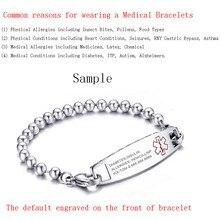 Medical Identification Bracelet Bangle Engrave Name Stainless Steel Customization Female Jewelry