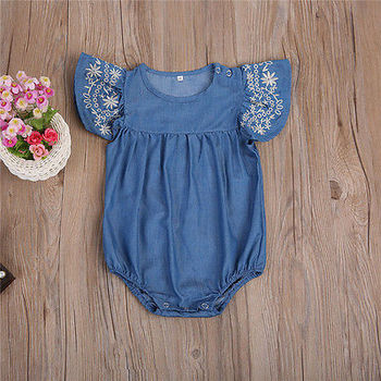 Flying Sleeve Baby Clothing Newborn Baby Girls Denim Romper Jumpsuit Outfits Sunsuit Clothes 0-24M 1