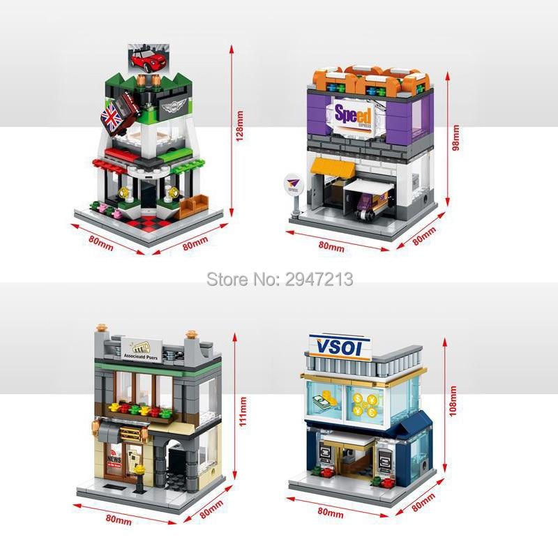 Горячий Совместимость legoinglys город мини Street View строительные блоки связанные Пресс мини Visa финансового учреждения FedEx игрушки подарок ...