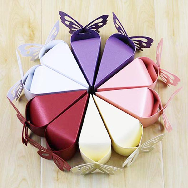 10 Pcs/lot Butterfly Party Wedding Candy Box Wedding Carriage European Cake Box Creative Birthday Baby Shower Favors Gift Bag
