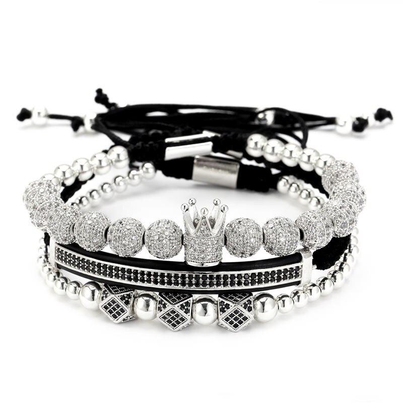3pcs Set Hip Hop Gold CZ Crown Bracelets Sets 8MM CZ Ball Charm Braided Man Women Luxury Bracelet Set Jewelry Pulseira Bileklik in Charm Bracelets from Jewelry Accessories