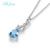 L & 1.617ct zuan 925 sterling silver natural Topázio azul pedra Colar & Pingente para o presente da mulher com corrente de prata