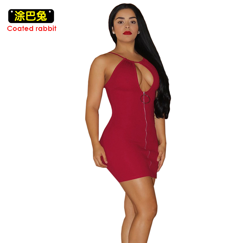 New 2017 Sleeveless Strap Dress Women Autumn Sexy Hollow Out Zippers Bodycon Mini Dresses Night Club Fashion Party Dress Female