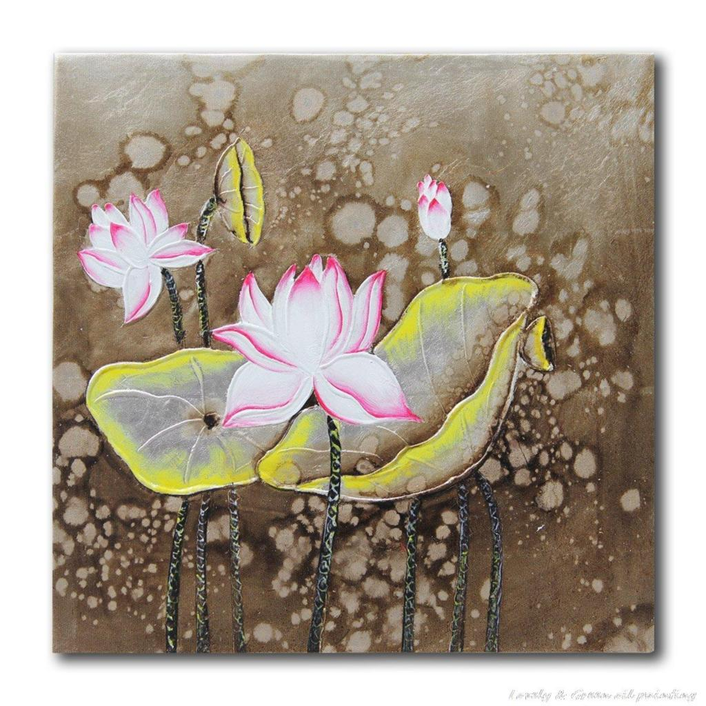 Hand Painted Lotus Flower Oil Painting On Canvas Pictures Decor