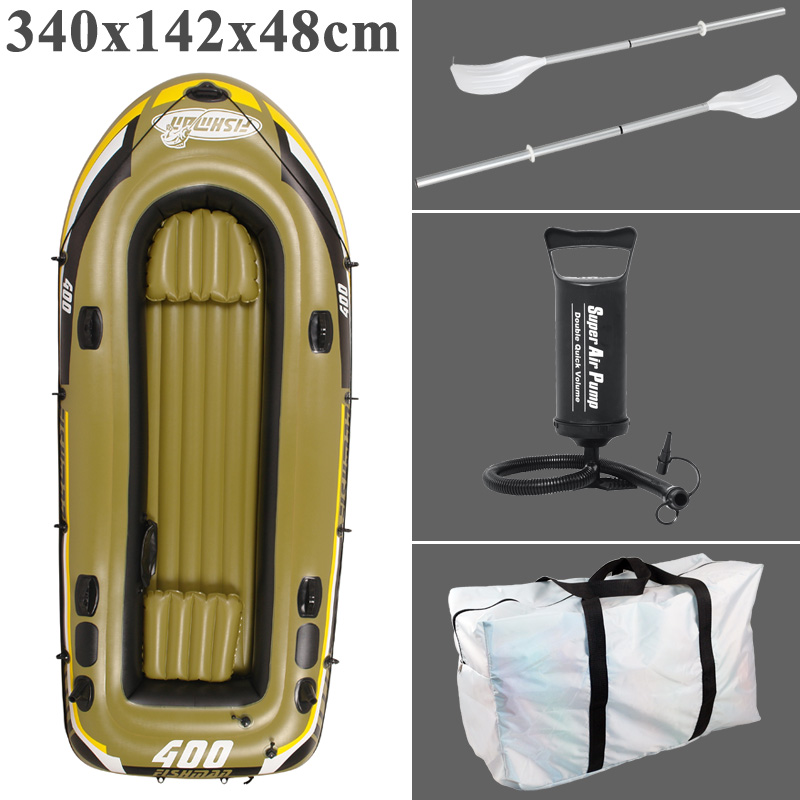Fishman 4 Person 340cm PVC Thick Inflatable Boat Inflatable Kayak Air Cushion Aluminium Paddle Pump Dinghy Air Raft A06003