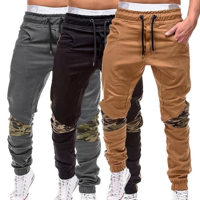 HEFLASHOR Fina Homens Verão Camuflagem Calças Cargo de Multi-bolso Calça Casual Patchwork Moletom Masculino Sportwear Mens Corredores