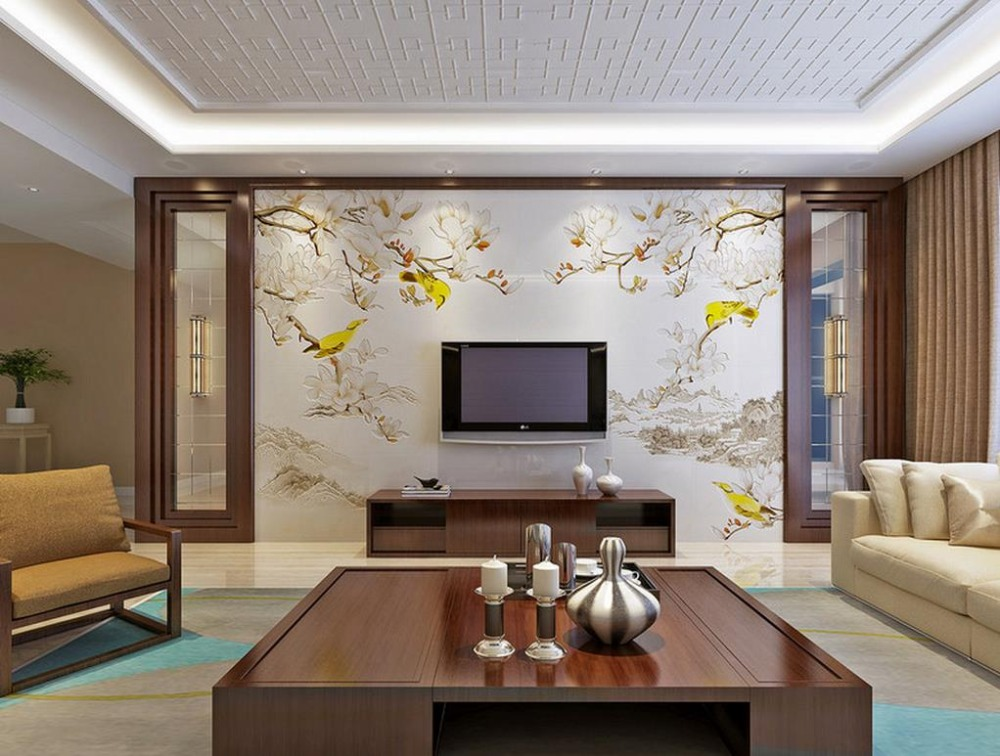 Home Improvement 3d Painting Wallpaper Jade Flower Mountain Brief Mural Wallpaper For Living Room Bedroom 3d Wall Murals