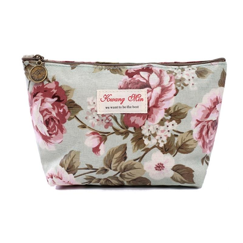 New Fashion Vintage Flower Floral Cosmetic Makeup Storage Pouch Purse Pencil Case Coin Bag Zip Brand Design Handbag