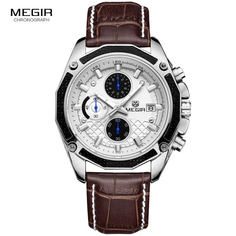 MEGIR quartz male watches Genuine Leather watches racing men Students game Run Chronograph Watch male glow hands for Man 2015G  jedir brand men sports watches 2017 genuine leather military wristwatch racing men chronograph watch male glow hands clock