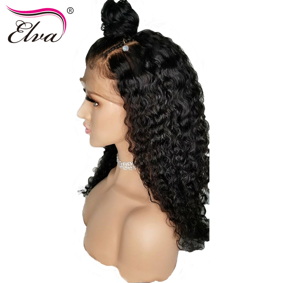 Pre Plucked 360 Lace Frontal Wig Curly Lace Front Human Hair Wigs Elva Hair Brazilian Lace Front Wig With Baby Hair Remy Wigs