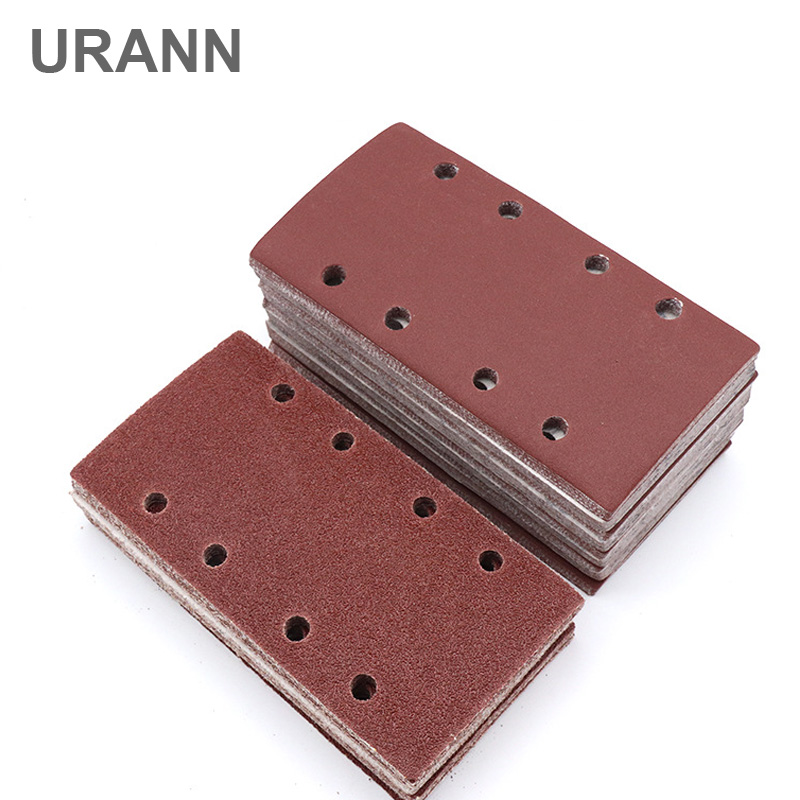 10pcs 185x95mm 8 Hole Square Flocking Sandpaper Self-adhesive Sandpaper Porous Back Velvet Disc Grit 40/60/80/120/150/180~800