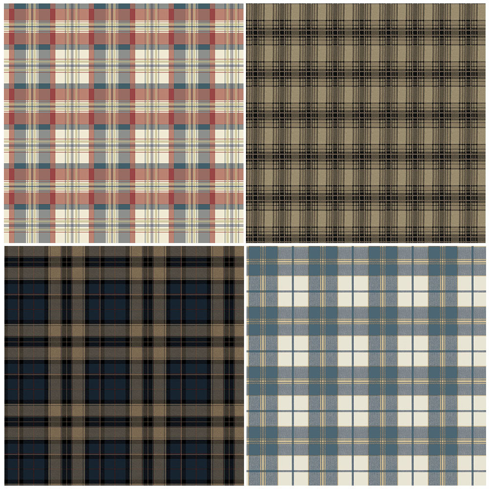 Haok Home PVC Vinyl Modern Plaid Checks Wallpaper Living ...