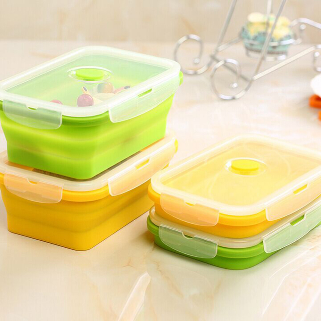750ml Silicone Lunch Box Collapsible Food Container Free Food