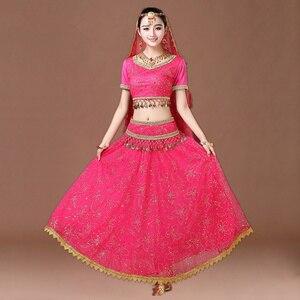 Image 3 - 인도 댄스 의상 볼리우드 드레스 사리 댄스웨어 여성/어린이 밸리 댄스 의상 세트 7 개
