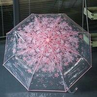 New Transparent Umbrella Pink Cherry Blossoms Flowers Women Rain Umbrellas Romantic Ladies Parasol Fashion Girl Paraguas US065