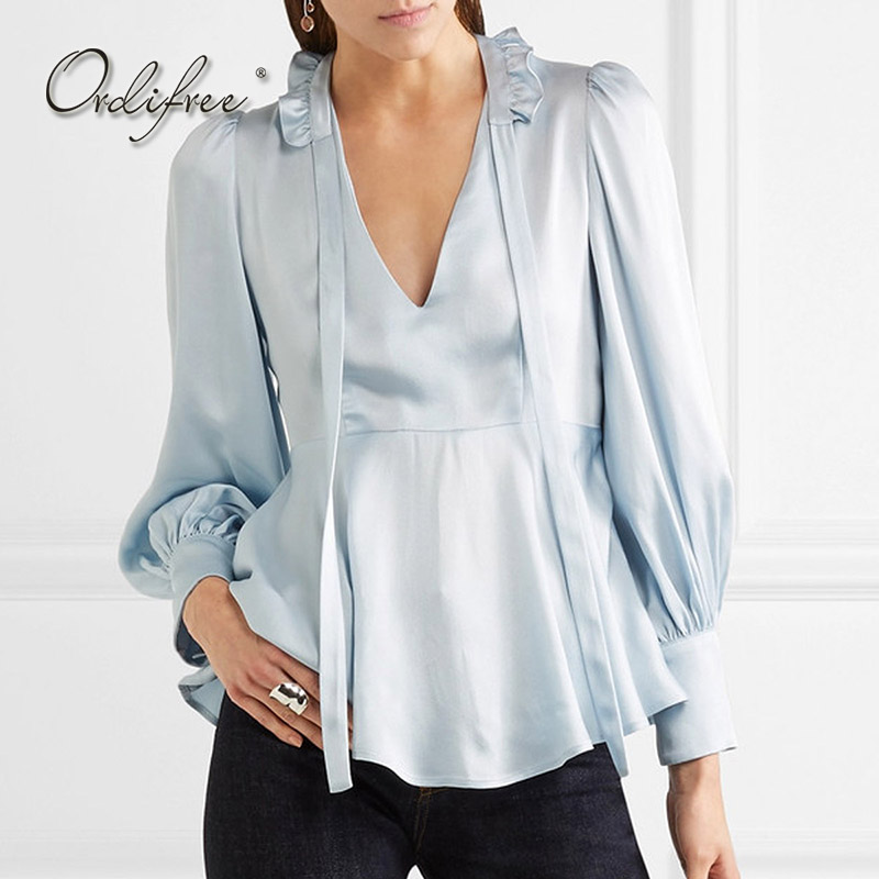 Ordifree 2018 Summer Women Satin Blouse Shirt Long Sleeve Sexy Female Top V Neck Bow Tie Office Ruffle Silk Blouse