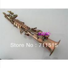 Brass plated soprano saxophone B red tan the straight pipe surface saxophone sax fast shipping
