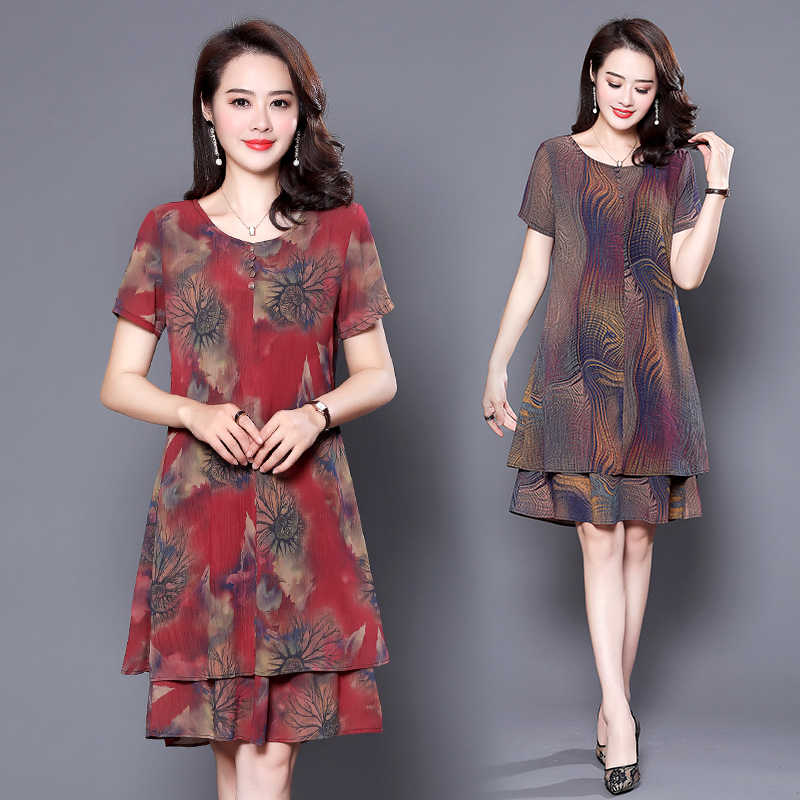 6aa7771ef09 ... Mother s Summer Chiffon Dress 40-50 Years Old Middle-aged Women s Large  Size Short ...