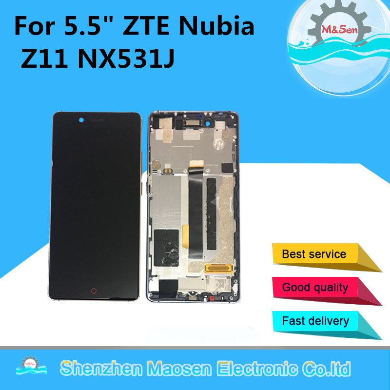M&Sen Lcd screen display+Touch panel digitizer with frame For 5.5 ZTE Nubia Z11 NX531J White/Black/gold  free shipping blue black white for htc desire 626 lcd display with touch screen digitizer with frame asembly free shipping 1280 720
