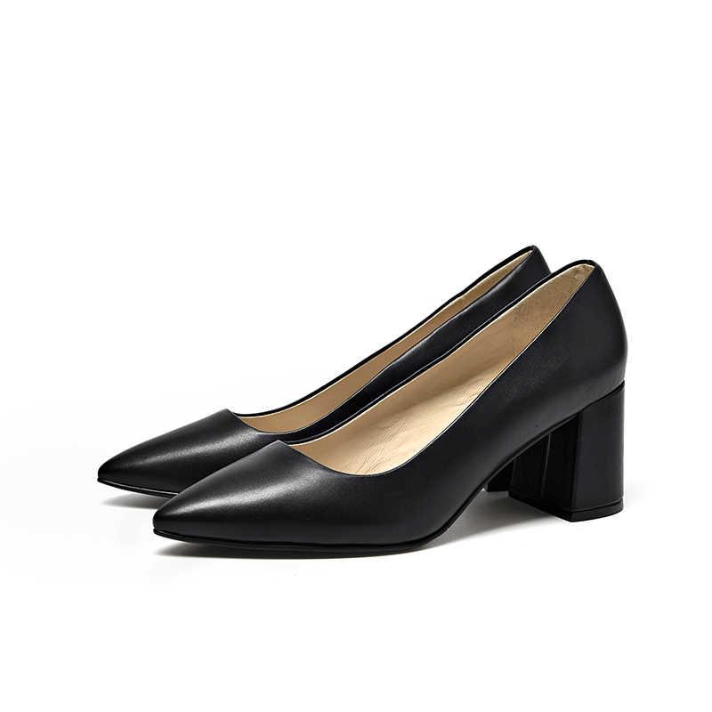 BeauToday Kadın Pompaları Hakiki Deri Dana Derisi Üst Marka Ofis Bayan Elbise Slip-On Sivri Burun Yüksek Topuk Ayakkabı 16208
