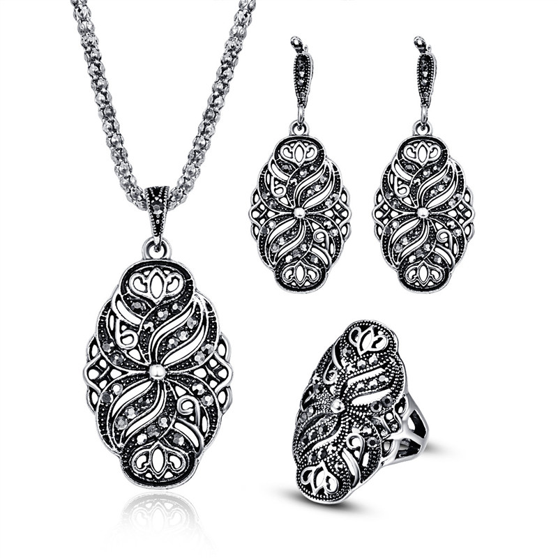 Ethnic Jewelry Sets For Women Antique Silver Color Full Black Rhinestone Crystal Flower Pendant Necklace Earrings And Ring Set