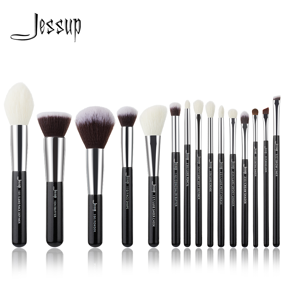 Jessup Juego de pinceles de maquillaje profesional, negro/plateado, herramientas de belleza, kit de brochas de maquillaje, base, polvo, definidor, delineador sombreador|brush kit|make up brush kitbrand make up - AliExpress
