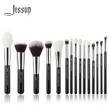Jessup marka siyah/gümüş profesyonel makyaj fırçalar seti güzellik araçları makyaj fırça seti vakfı pudra belirleyici Shader Liner