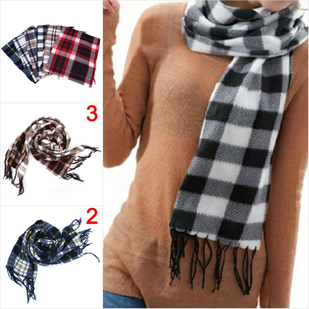 1PC Fashion 31 Cm Geometric Plaid Scarf Shawl For Women Men Wool Blend Wrap Winter Warm Scarf