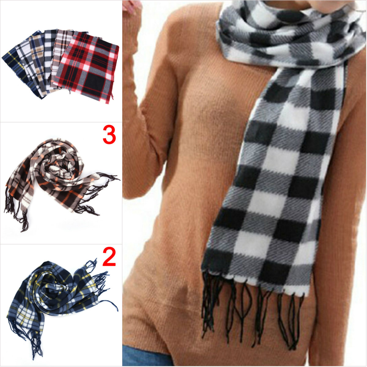 1PC fashion 31 cm Geometric Plaid   Scarf   Shawl For Women Men Wool Blend   Wrap   Winter Warm   Scarf