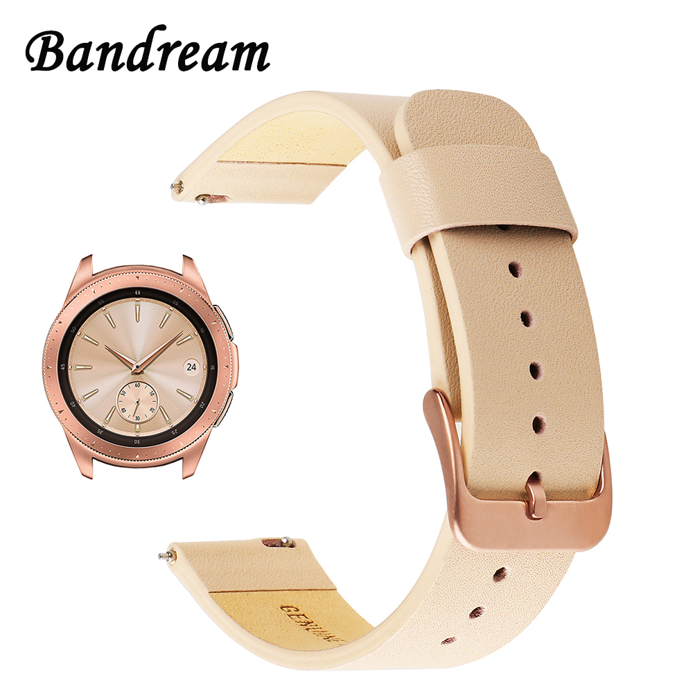 Genuine Leather Watchband 20mm For Samsung Galaxy Watch 42mm R810 Quick Release Band Replacement Strap Wrist Bracelet Rose Gold