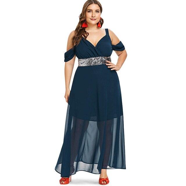 Wipalo Plus Size 5XL Sequins Cold Shoulder Floor Length Maxi Dress Casual  Solid High Waist Mesh Flowy Dress Party Dress Vestidos 3aae77c5c73a