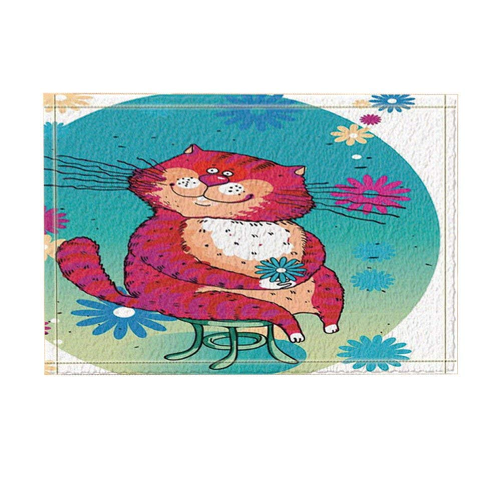 Cartoon Animal Decor A Fat Cat Hold Flower Sit on Chair Bath Rugs for Bathroom Non-Slip Door Mat Kids Bath Mat Red