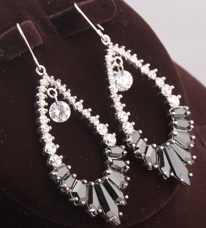 Divine Huge Black Onyx White Zircon 925 Sterling Silver Party Jewelry Drop Dangle Earring S5542