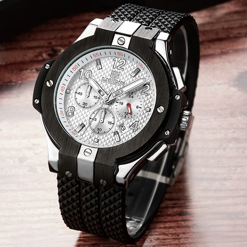 MEGIR Big Dial Creative Fashion Sports Watches Men Stop Watch Waterproof Top Brand Analog Quartz Wristwatches Relogio Masculino megir big dial military sports watches men waterproof fashion brand stop watch quartz wristwatches clock male relogio masculino