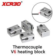 цена на XCR3D 3D Printer Parts V6 Heating Block Extruder For HT-NTC100K HotEnd Thermocouple Thermometric Heater Aluminium Block  1PCS