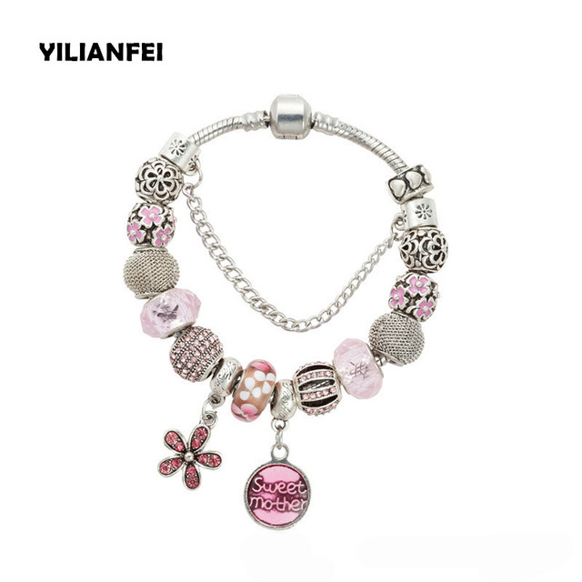 Yilianfei Silver Plating Flower Pendant Fashion Cute Charm Bracelets Bangles With Pink Chamilia Beads For
