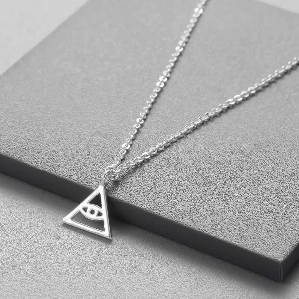 Vintage trójkąt Demon naszyjnik oko proroka kobiety wzór geometryczny bransoletki i łańcuszki na wisiorki naszyjniki dla mężczyzn biżuteria prezent urodzinowy Kpop