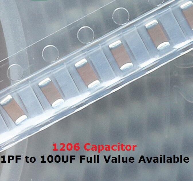 100PCS 1206 SMD Capacitor Kit 0.33UF 0.47UF 330NF 470NF 1UF 2.2UF 4.7UF 50V 105 334 474 225 475 K/M/Z X7R Capacitance 50V