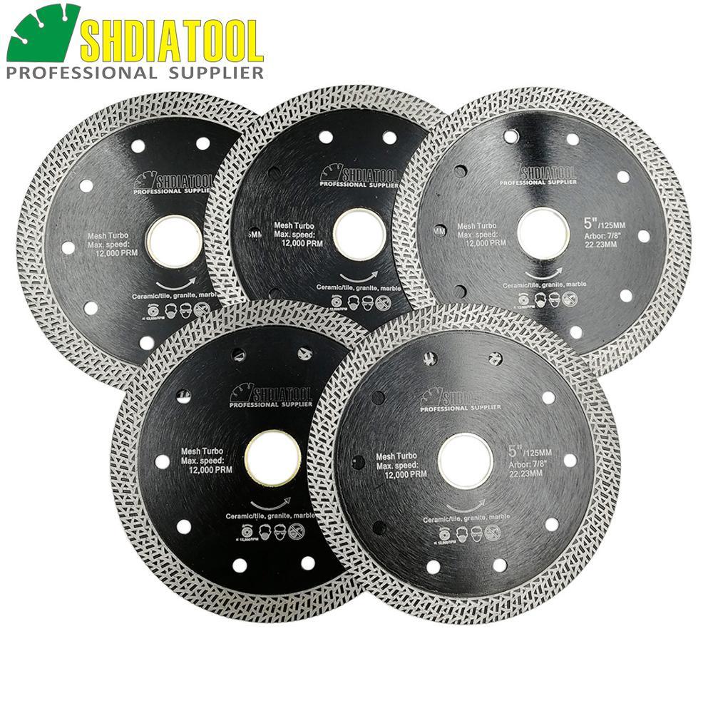SHDIATOOL 5pks Diameter 5 125mm Diamond Hot pressed Sintered Diamond Blade Ceramic Cutting Disc Mesh Turbo