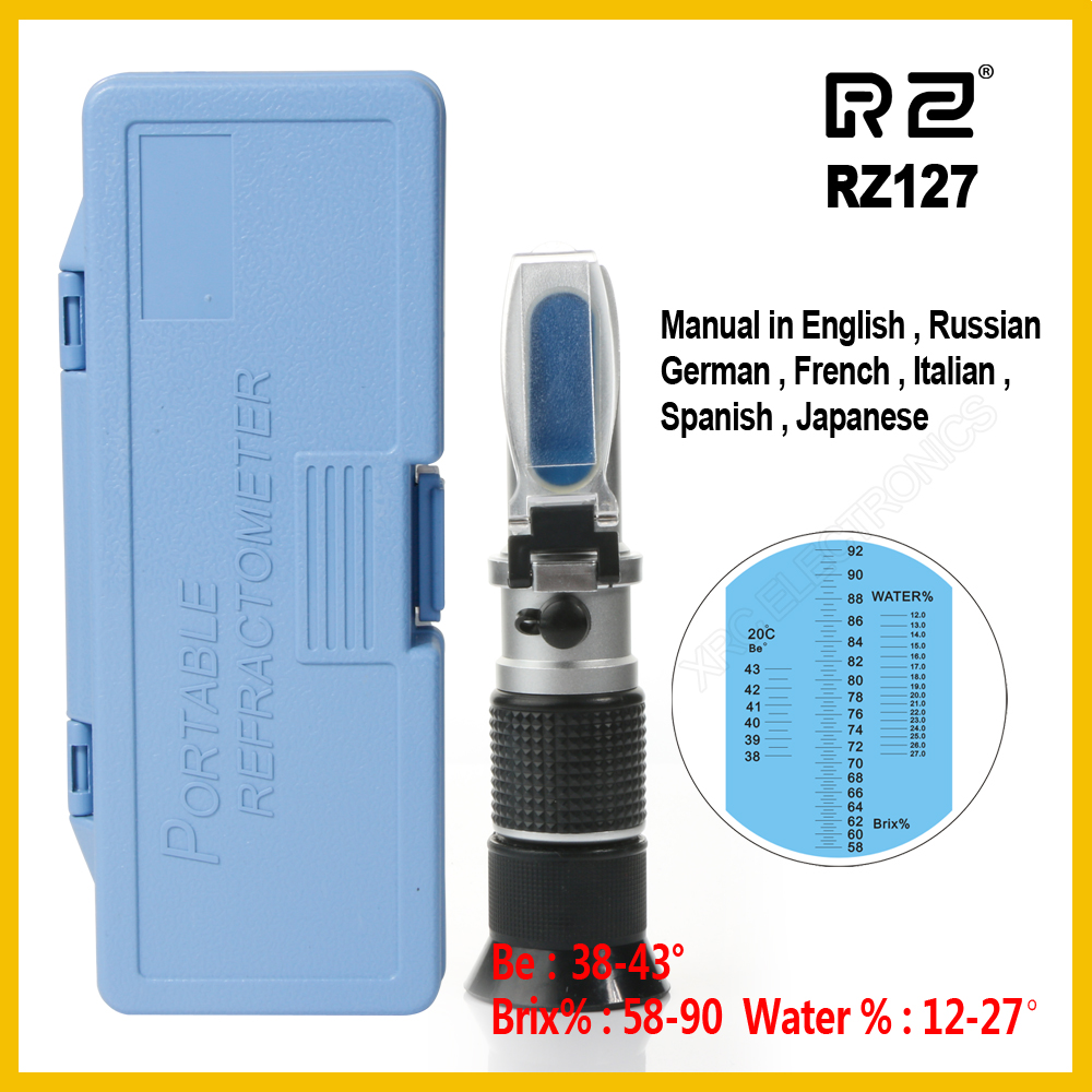 RZ Genuine Retail Package High Concentration Brix Be Water 3 in 1 58%~92% Honey Refractometer Bees Sugar Food ATC RZ127 backyard farming keeping honey bees
