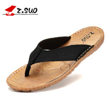 Z.SUO Summer Men Flip Flops Cow Split Leather Upper Rubber Outsole Male Leisure Sandals Breathable Beach Casual Shoes ZS618N