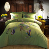 Vivid Green Chinese Traditional Flower Pattern Bedding Sets Full Queen King Size Bedclothes Duvet Cover Cotton