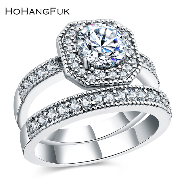 Newest Luxury GoldSilver Color Big Stone With CZ Paved White Zircon